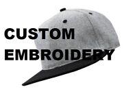 Custom Personalised Embroidery Grey Black Two Tone FLAT Peak SNAPBACK Hat Cap