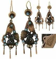 Victorian Mexican 12K Rose Gold Bird Motif Pearl Turqouise Drop Earrings DMO