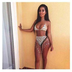 Olbye Bra Triangle Bikini Top Chain Jewelry Gold Sexy Beach Bra Harness Bralette
