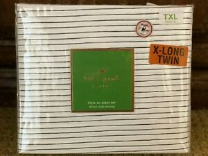 Kate Spade 3 pc Skinny Stripe Navy Blue and White Cotton TWIN XL Sheet Set