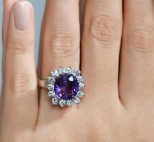 Estate Amethyst & Diamond 4.78 Ct 14k White Gold Over Engagement Wedding Ring