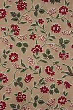 Printed cotton French 1930-1940's printed cotton red green material
