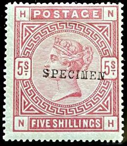 QV MINT 5 SHILLING ROSE BLUED PAPER OVERPRINTED SPECIMEN.