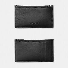 NWT Coach Men's Zip Card Case in Sports California Leather Black F29272 $95