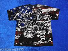 Licensed Miami Ink Skeleton Biker American Flag T-Shirt 2XL