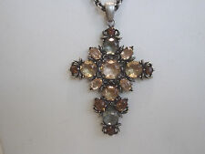 "V&A Victoria and Albert Inspired Rose Cut Crystal Cross Pendant w 18"" Adj Chain"