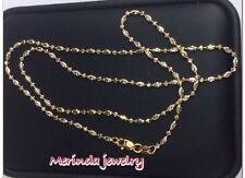 18k Solid Two Tone Gold Diamond Cut Beaded Necklace Chain 5.30 Grams, 18 Inches.