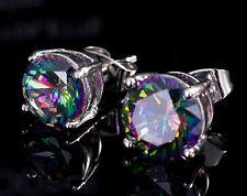 18k White Gold GP Austria Crystal Round Color CZ Zircon Studs Earrings E218g
