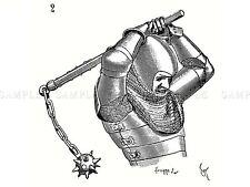 Pintura Dibujo Militar Viollet-le-duc Medieval Mace Caballero Estampado Cartel lf365