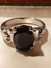 Saphire Ring Large Solitaire Unusual Design Ring sz N