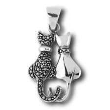 Cat Pendant Two Kittens sterling Silver Marcasite 925 .925 tails crossed cute