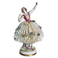 "Antique German Dresden Porcelain Ballerina Figure by Muller & Co ""MV"""