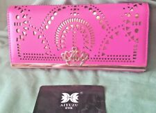 AIYUZU Ladies Wallet HEART CROWN 'BLING' w laser cut outs HOT PINK rrp$78