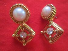 AVON VINTAGE*ELEGANCE COLLECTION DANGLE EARRINGS W/SURGICAL STEEL POST*1992*NEW