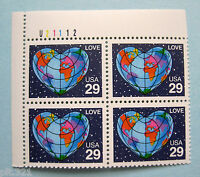 Sc # 2535 ~ Plate # Block ~ 29 cent Love, Heart-Shaped Earth Issue (ck3)