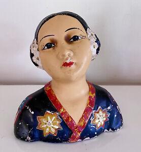 VTG Chalkware Bust of Asian Girl Signed DM - Esther Hunt Era/Style
