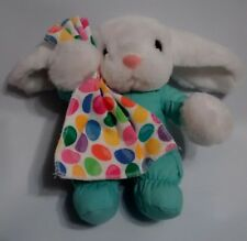 """Commonwealth Vintage Plush Easter Bunny Pastel Blue W/ Jelly Bean Print Lovey 7"""""""