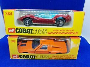 Vintage Corgi WhizzWheels 384 Adams Probe Red/388 Mercedes Benz,Orange JOB LOT 2