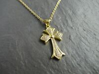 CZ Stone Gold Cross Crucifix Jesus Necklace Pendant Christian Necklaces UK