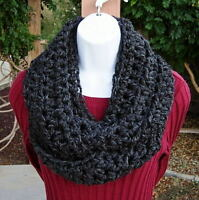 INFINITY SCARF LOOP COWL Black Dark Grey Gray Handmade Crochet Knit Winter, Wool