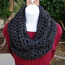 Handmade Crochet SCARF INFINITY LOOP COWL Black Dark Grey Gray Knit Winter, Wool