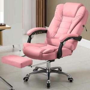 Poltrona Massaggiante USB Sedia Scrivania Ufficio Reclinabile + Poggiapiedi Rosa