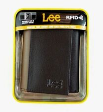 Lee Men's Trifold Wallet Brown Leather RFID Blocking Pebble New Gift Box MSP$28