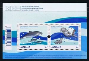 Sea Otter, Porpoise - JOINT ISSUE CANADA-SWEDEN MNH Souvenir Sheet of 2 SC 2387