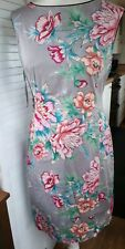 Oasis Ladies 12 Fitted Lined Floral Dress Grey Pink Green Blue