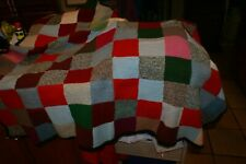 "Vintage Granny Square Hand KNIT Afghan Throw - 53"" X 44"" SQUARES TOGETHER"