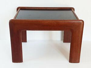 Coffee Table End Of Sofa Scandinavian 1960 Teak Solid & Formica Black Vintage