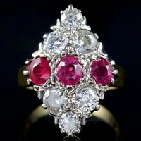 ANTIQUE VICTORIAN DIAMOND RUBY MARQUISE RING 18CT GOLD CIRCA 1900