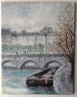 Tableau Impressionniste Paris Péniches sous le Pont du Carrousel Huile