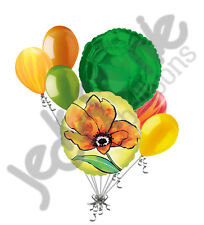 7pc Painted Yellow Flower Balloon Bouquet Party Decoration Birthday Wedding Love