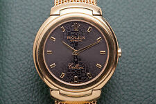 Estate $20,000 Black Dial 34mm 18k Yellow Gold Mens or Ladies Dress Watch 122g 7