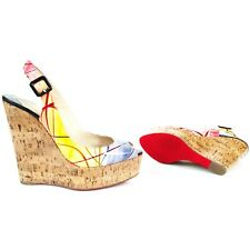 Christian Louboutin size 38.5 Une Plume Sling 140 Patent Leather Wedge Sandals