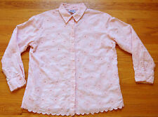 Vintage * GRAFF *  Peach Pink Broderie Anglaise Button Up Long Sleeve Blouse PS