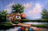 Stretched, Pond Side Cottage, Hand Painted Oil Painting 24x36in
