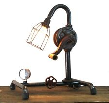 Factory Style Crank Table Lamp with Real Parts Steampunk Industrial