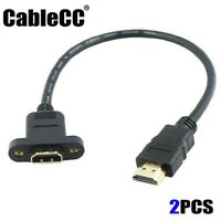 2pcs/lot Cablecc HDMI 1.4 19pin Male to A Type Female Extension Cable Screws