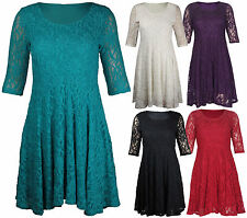 Lace Scoop Neck 3/4 Sleeve Skater Dresses for Women