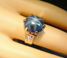 DEEP BLUE GENUINE NATURAL STAR SAPPHIRE 11.23 CTS VICTORIAN 10K ROSE GOLD RING