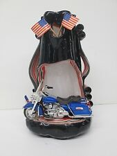Harley Davidson Motorcycle Carved Candle Decorative Candle Holder American Flag