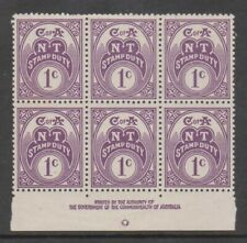 Northern Territory - Revenues 1966 Crown CofA 1c Authority Imprint block of 6