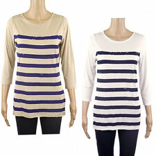 Women's Striped 3/4 Sleeve Sleeve Viscose Hip Length Tops & Shirts