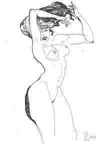 original drawing A4 87YL art samovar Watercolor sketch modern female nude