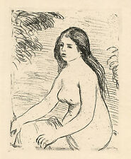 """Pierre-Auguste Renoir original etching """"Femme nue assise"""" 1906 edition"""