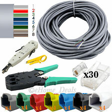 40m RJ45 Ethernet red Cat6e Cable Crimping Punch Herramienta + Botas conectores del Reino Unido