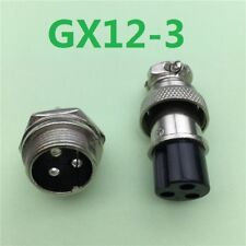 GX12-3 3 Pin Male 12mm Screw Type Panel Connector Adapter Aviation Plug