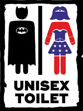 Comic Superhero Inspired Metal Sign Bathroom Wall Plaque Unisex Toilet